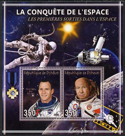 Djibouti 2013 Conquest of Space - First Space Walks perf sheetlet containing 2 values unmounted mint