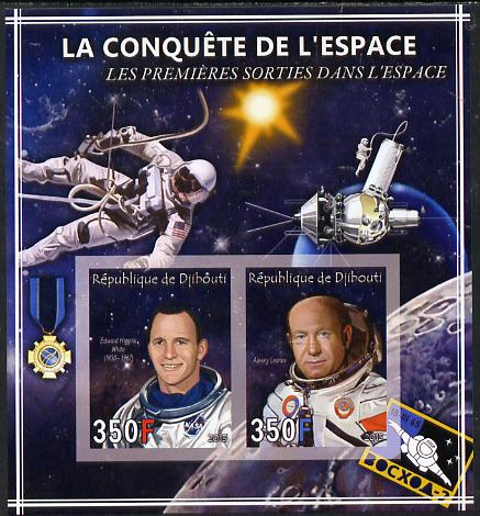 Djibouti 2013 Conquest of Space - First Space Walks imperf sheetlet containing 2 values unmounted mint