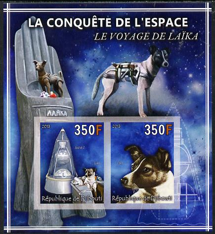 Djibouti 2013 Conquest of Space - Laika Space Dog imperf sheetlet containing 2 values unmounted mint