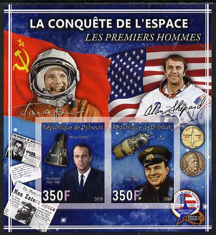 Djibouti 2013 Conquest of Space - First Men in Space imperf sheetlet containing 2 values unmounted mint