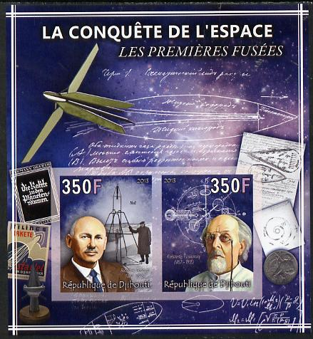 Djibouti 2013 Conquest of Space - First Rockets imperf sheetlet containing 2 values unmounted mint