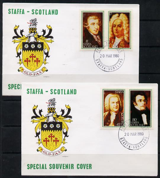 Staffa 1980 Composers (Haydn, Handel, Schubert & Bach) perf set of 4 on 2 illustrated covers with first day cancels