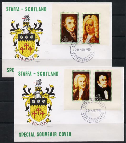Staffa 1980 Composers (Haydn, Handel, Schubert & Bach) imperf set of 4 on 2 illustrated covers with first day cancels, stamps on music, stamps on personalities, stamps on composers, stamps on opera, stamps on bach