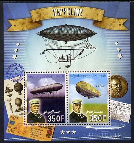 Djibouti 2013 Zeppelins perf sheetlet containing two values unmounted mint