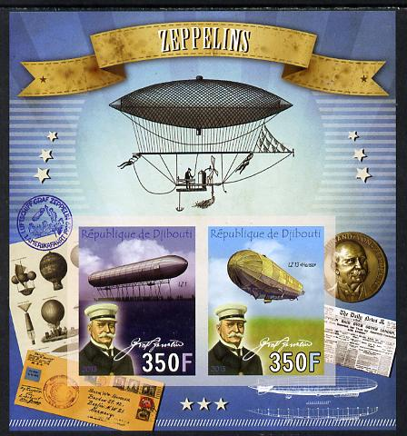 Djibouti 2013 Zeppelins imperf sheetlet containing two values unmounted mint