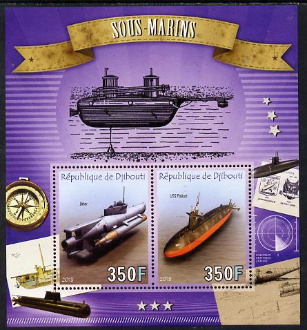 Djibouti 2013 Submarines perf sheetlet containing two values unmounted mint