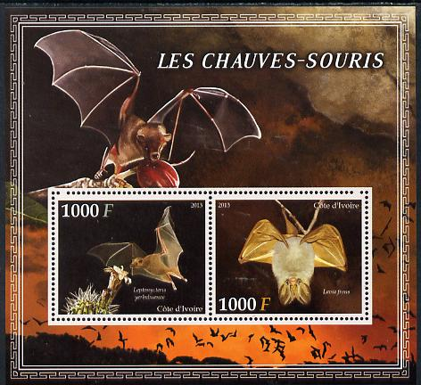Ivory Coast 2013 Bats perf sheetlet containing two values unmounted mint