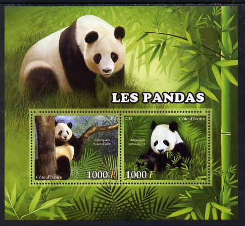 Ivory Coast 2013 Pandas perf sheetlet containing two values unmounted mint
