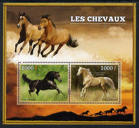 Ivory Coast 2013 Horses perf sheetlet containing two values unmounted mint