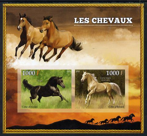 Ivory Coast 2013 Horses imperf sheetlet containing two values unmounted mint