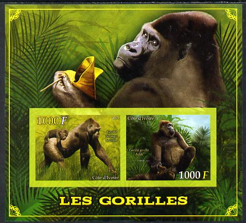 Ivory Coast 2013 Gorillas imperf sheetlet containing two values unmounted mint