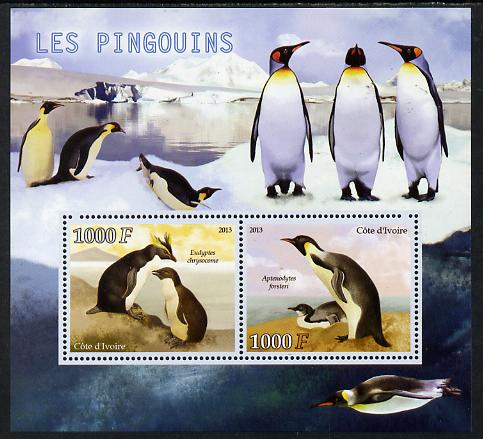 Djibouti 2013 Penguins perf sheetlet containing two values unmounted mint