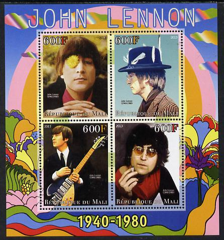 Mali 2013 John Lennon perf sheetlet containing four values unmounted mint