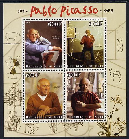 Mali 2013 Pablo Picasso perf sheetlet containing four values unmounted mint