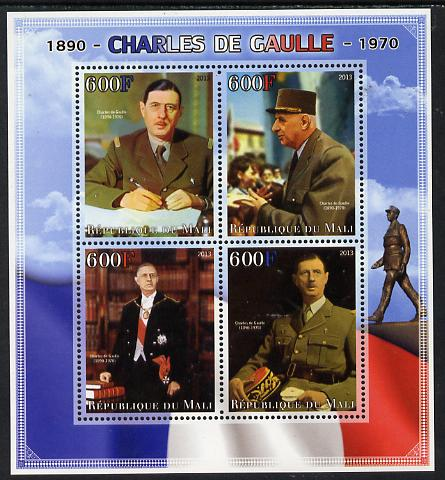 Mali 2013 Charles De Gaulle perf sheetlet containing four values unmounted mint