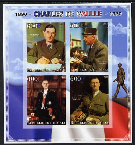 Mali 2013 Charles De Gaulle imperf sheetlet containing four values unmounted mint