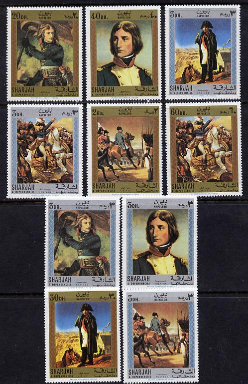 Sharjah 1970 Paintings of Napoleon perf set of 10 unmounted mint, Mi 622-31A*