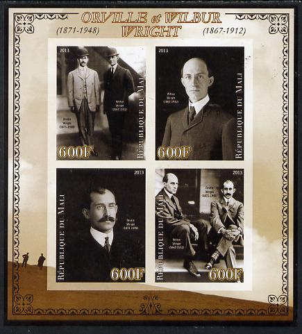 Mali 2013 Orville & Wilbur Wright imperf sheetlet containing four values unmounted mint