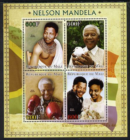 Mali 2013 Nelson Mandela #1 perf sheetlet containing four values unmounted mint