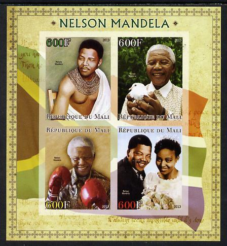 Mali 2013 Nelson Mandela #1 imperf sheetlet containing four values unmounted mint