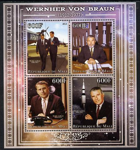 Mali 2013 Werner Von Braun perf sheetlet containing four values unmounted mint