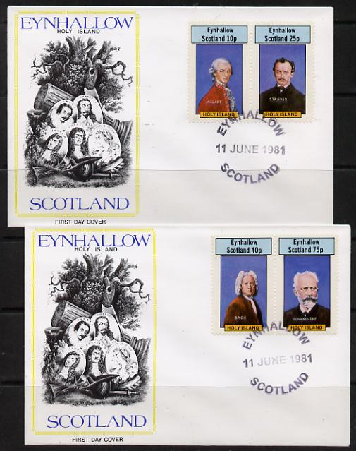 Eynhallow 1981 Composers (Mozart, Strauss, Bach & Tchaikovski) perf set of 4 on two illustrated covers with first day cancels