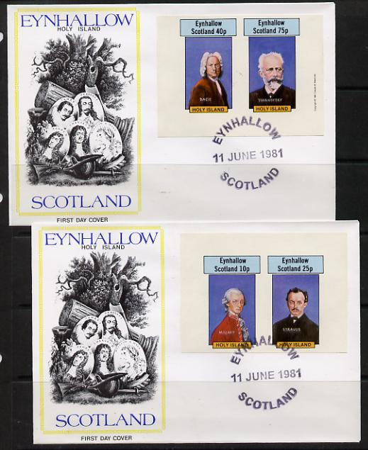 Eynhallow 1981 Composers (Mozart, Strauss, Bach & Tchaikovski) imperf set of 4 on two illustrated covers with first day cancels