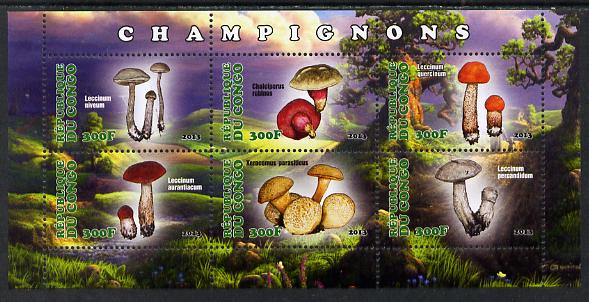 Congo 2013 Fungi #4 perf sheetlet containing six values unmounted mint
