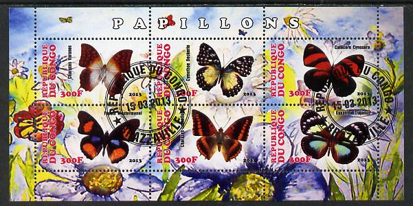 Congo 2013 Butterflies #4 perf sheetlet containing six values fine cto used