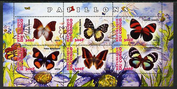 Congo 2013 Butterflies #4 perf sheetlet containing six values unmounted mint