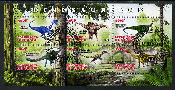 Congo 2013 Dinosaurs #2 perf sheetlet containing six values fine cto used