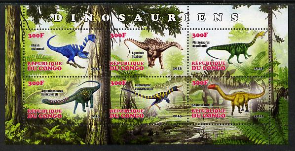 Congo 2013 Dinosaurs #2 perf sheetlet containing six values unmounted mint