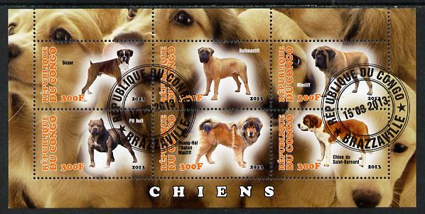 Congo 2013 Dogs #2 perf sheetlet containing six values fine cto used