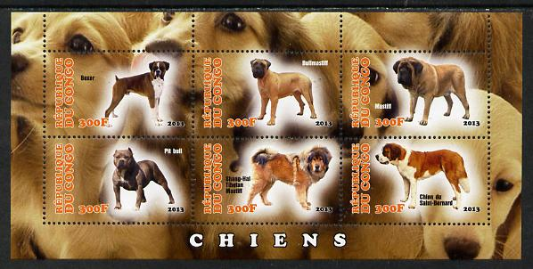 Congo 2013 Dogs #2 perf sheetlet containing six values unmounted mint