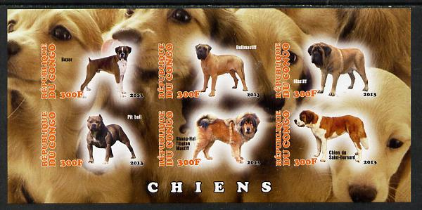 Congo 2013 Dogs #2 imperf sheetlet containing six values unmounted mint
