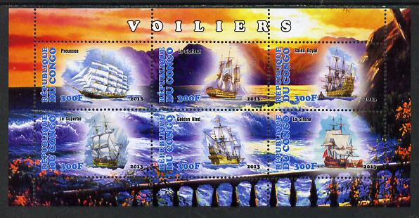 Congo 2013 Sailing Ships #1 perf sheetlet containing six values unmounted mint