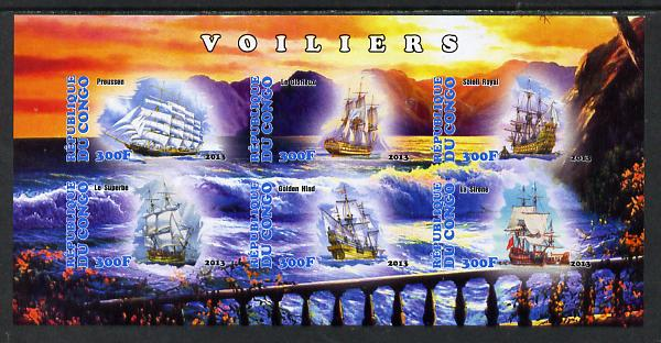 Congo 2013 Sailing Ships #1 imperf sheetlet containing six values unmounted mint