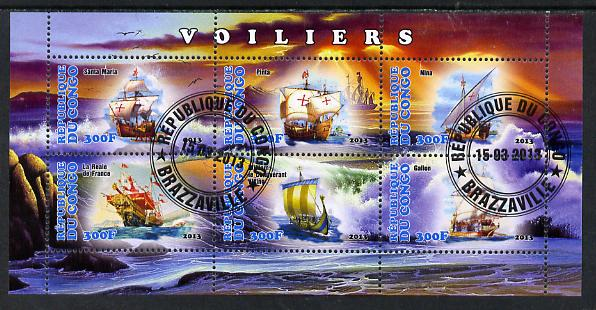Congo 2013 Sailing Ships #2 perf sheetlet containing six values fine cto used