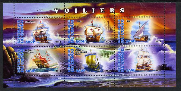 Congo 2013 Sailing Ships #2 perf sheetlet containing six values unmounted mint