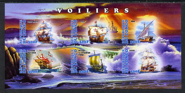 Congo 2013 Sailing Ships #2 imperf sheetlet containing six values unmounted mint