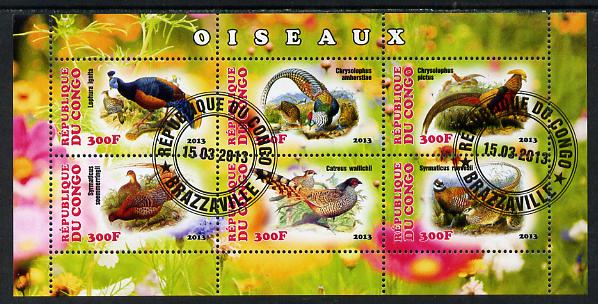 Congo 2013 Birds - Game Birds perf sheetlet containing six values fine cto used