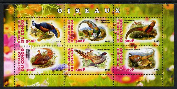 Congo 2013 Birds - Game Birds perf sheetlet containing six values unmounted mint