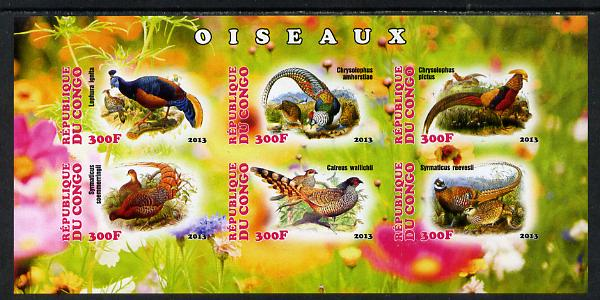 Congo 2013 Birds - Game Birds imperf sheetlet containing six values unmounted mint