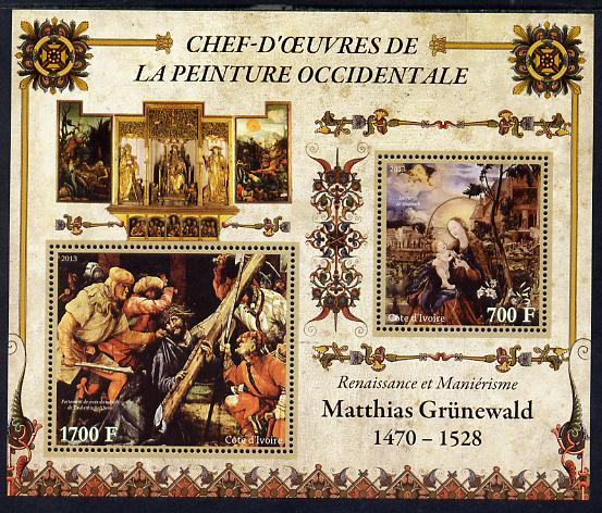 Ivory Coast 2013 Art Masterpieces from the Western World - Renaissance & Mannerism - Matthias Grunewald perf sheetlet containing 2 values unmounted mint