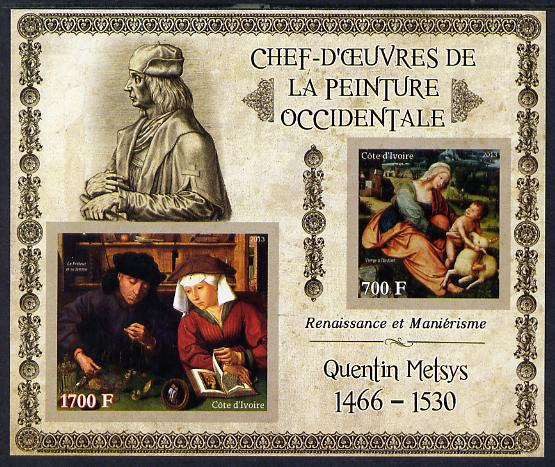 Ivory Coast 2013 Art Masterpieces from the Western World - Renaissance & Mannerism - Quentin Metsys imperf sheetlet containing 2 values unmounted mint