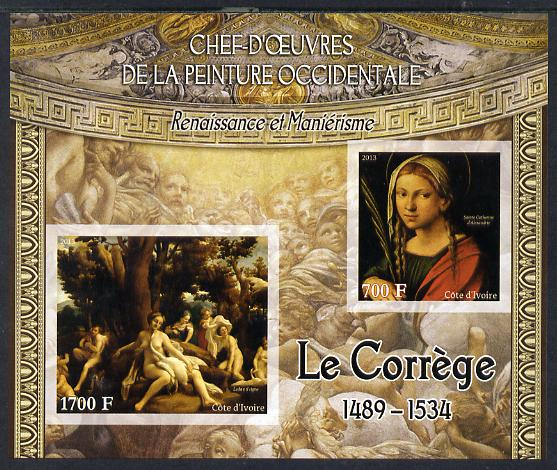 Ivory Coast 2013 Art Masterpieces from the Western World - Renaissance & Mannerism - Correggio imperf sheetlet containing 2 values unmounted mint