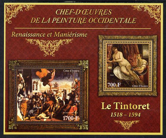 Ivory Coast 2013 Art Masterpieces from the Western World - Renaissance & Mannerism - Tintoretto perf sheetlet containing 2 values unmounted mint