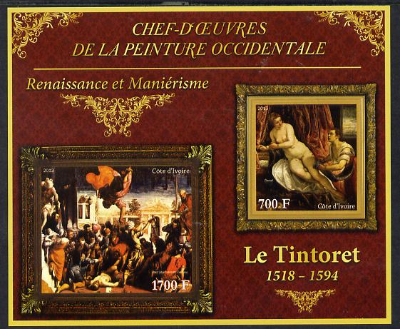 Ivory Coast 2013 Art Masterpieces from the Western World - Renaissance & Mannerism - Tintoretto imperf sheetlet containing 2 values unmounted mint