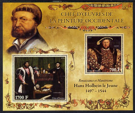 Ivory Coast 2013 Art Masterpieces from the Western World - Renaissance & Mannerism - Hans Holbein perf sheetlet containing 2 values unmounted mint