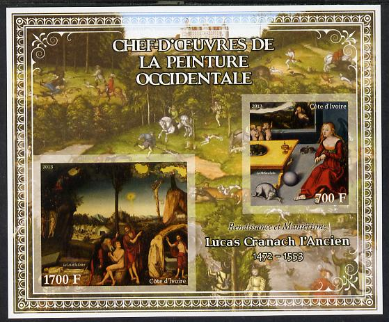 Ivory Coast 2013 Art Masterpieces from the Western World - Renaissance & Mannerism - Lucas Cranach (Cranach the Elder) imperf sheetlet containing 2 values unmounted mint